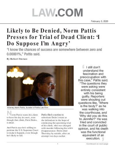 Likely to Be Denied, Norm Pattis Presses for Trial of Dead Client: 'I Do Suppose I'm Angry'