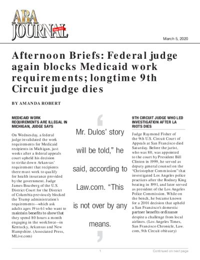Afternoon Briefs: Federal judge again blocks Medicaid work requirements; longtime 9th Circuit judge dies