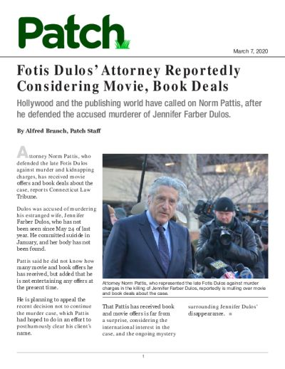 Fotis Dulos' Attorney Reportedly Considering Movie, Book Deals