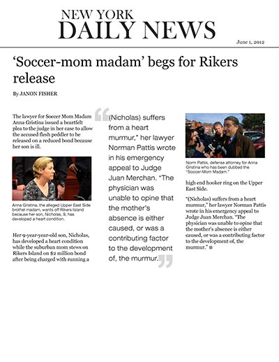 Soccer Mom Madam begs for Rikers release