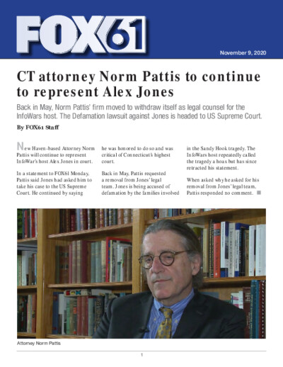 CT attorney Norm Pattis to continue to represent Alex Jones