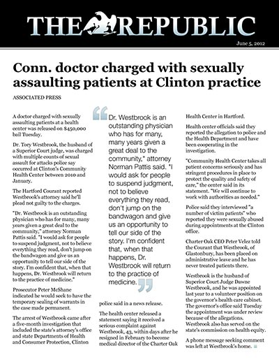 Conn. doctor charged with sexually assaulting patients at Clinton practice