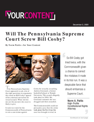 Will The Pennsylvania Supreme Court Screw Bill Cosby?
