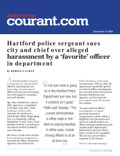 Hartford police sergeant sues city and chief over alleged harassment by a 'favorite' officer in department