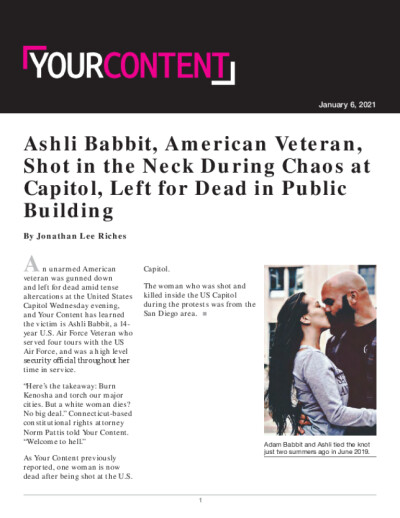 Ashli Babbit, American Veteran, Shot in the Neck During Chaos at Capitol, Left for Dead in Public Building