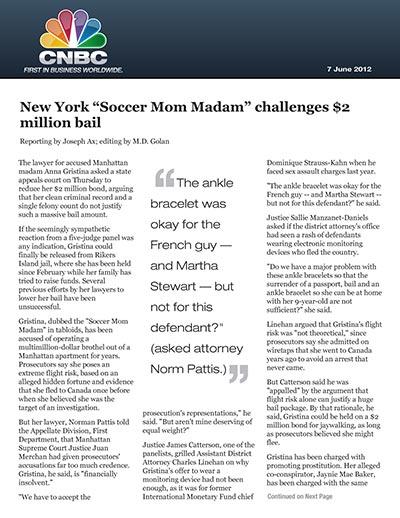 "New York ""Soccer Mom Madam"" challenges $2 million bail"