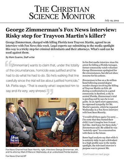 George Zimmerman's Fox News interview: Risky step for Trayvon Martin's killer?