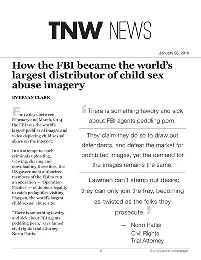 How the FBI became the world's largest distributor of child sex abuse imagery