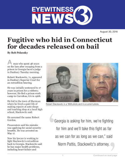 Fugitive who hid in Connecticut for decades released on bail