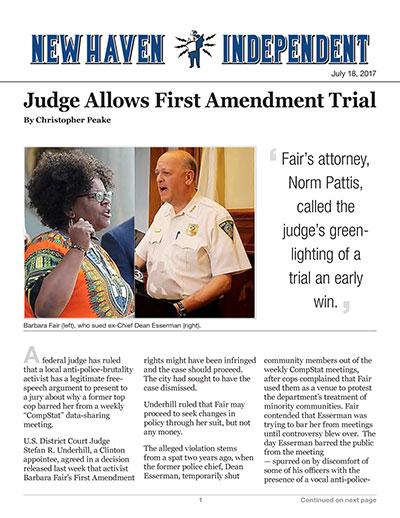 Judge Allows First Amendment Trial