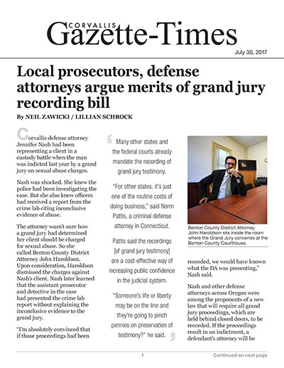 Local prosecutors, defense attorneys argue merits of grand jury recording bill