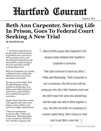 Beth Ann Carpenter, Serving Life In Prison, Goes To Federal Court Seeking A New Trial