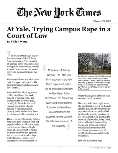 At Yale, Trying Campus Rape in a Court of Law