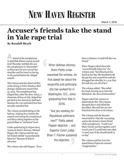 Accuser's friends take the stand in Yale rape trial