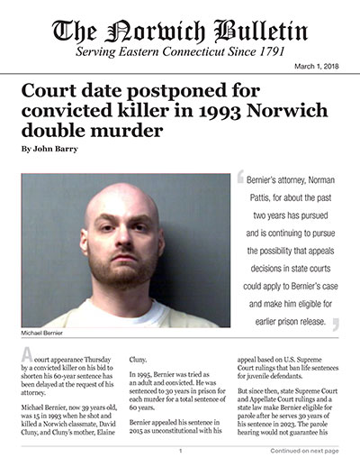 Court date postponed for convicted killer in 1993 Norwich double murder