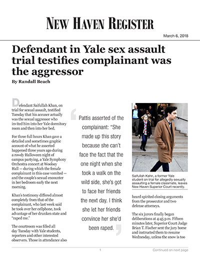 Defendant in Yale sex assault trial testifies complainant was the aggressor