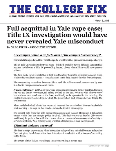 Full acquittal in Yale rape case; Title IX investigation would have never revealed Yale misconduct