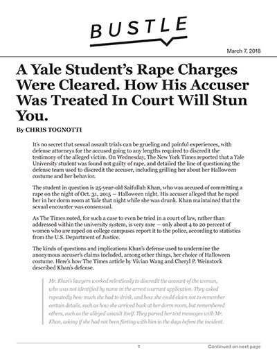 A Yale Student's Rape Charges Were Cleared. How His Accuser Was Treated In Court Will Stun You.