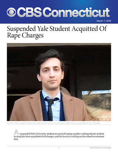 Suspended Yale Student Acquitted Of Rape Charges