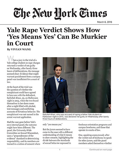 Yale Rape Verdict Shows How 'Yes Means Yes' Can Be Murkier in Court