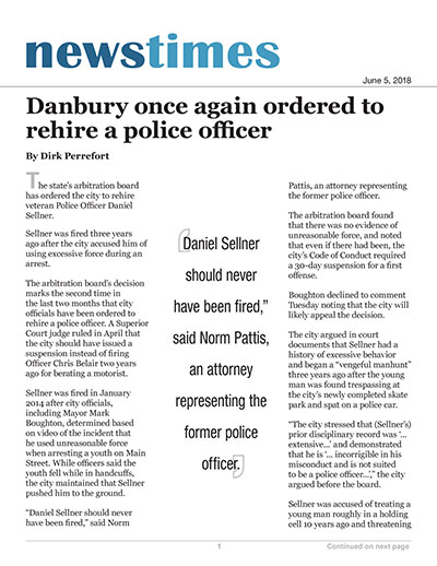 Danbury once again ordered to rehire a police officer