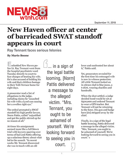 New Haven officer at center of barricaded SWAT standoff appears in court