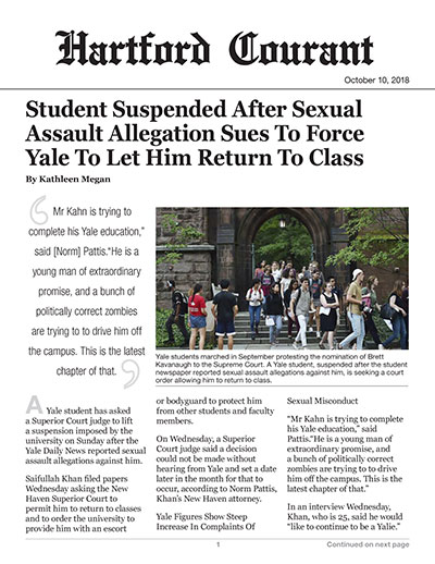 Student Suspended After Sexual Assault Allegation Sues To Force Yale To Let Him Return To Class