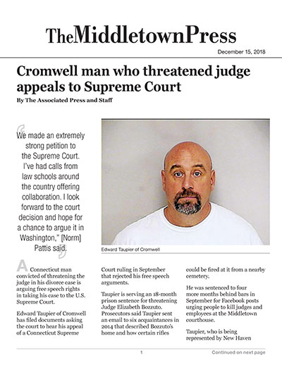 Cromwell man who threatened judge appeals to Supreme Court