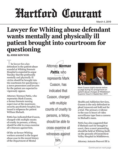 Lawyer for Whiting abuse defendant wants mentally and physically ill patient brought into courtroom for questioning