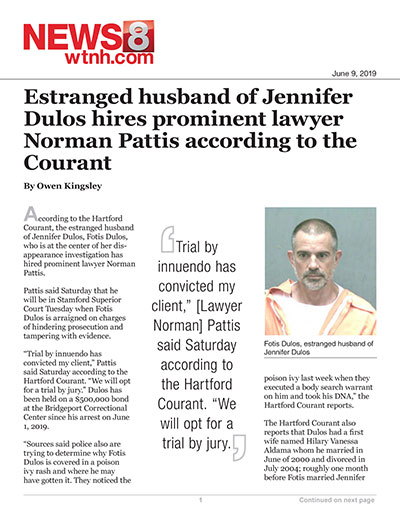 Estranged husband of Jennifer Dulos hires prominent lawyer Norman Pattis