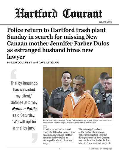 Police return to Hartford trash plant Sunday in search for missing New Canaan mother Jennifer Farber Dulos as estranged husband hires new lawyer