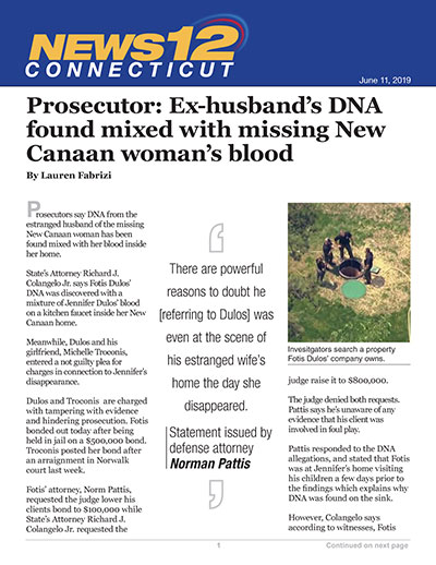 Prosecutor: Ex-husband's DNA found mixed with missing New Canaan woman's blood