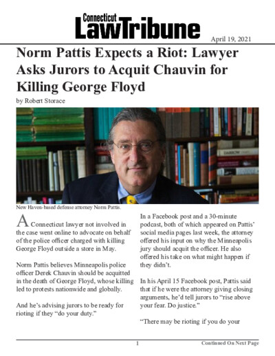 Norm Pattis Expects a Riot: Lawyer Asks Jurors to Acquit Chauvin for Killing George Floyd