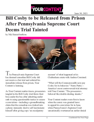 Bill Cosby to be Released from Prison After Pennsylvania Supreme Court Deems Trial Tainted