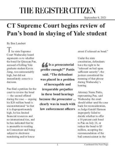 CT Supreme Court begins review of Pan's bond in slaying of Yale student