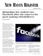 Quinnipiac law student sues Facebook after site removes his posts naming whistleblower