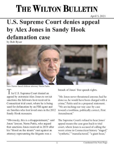 U.S. Supreme Court denies appeal by Alex Jones in Sandy Hook defamation case