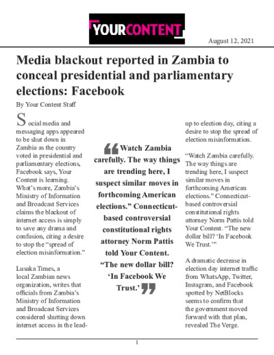 Media blackout reported in Zambia to conceal presidential and parliamentary elections: Facebook